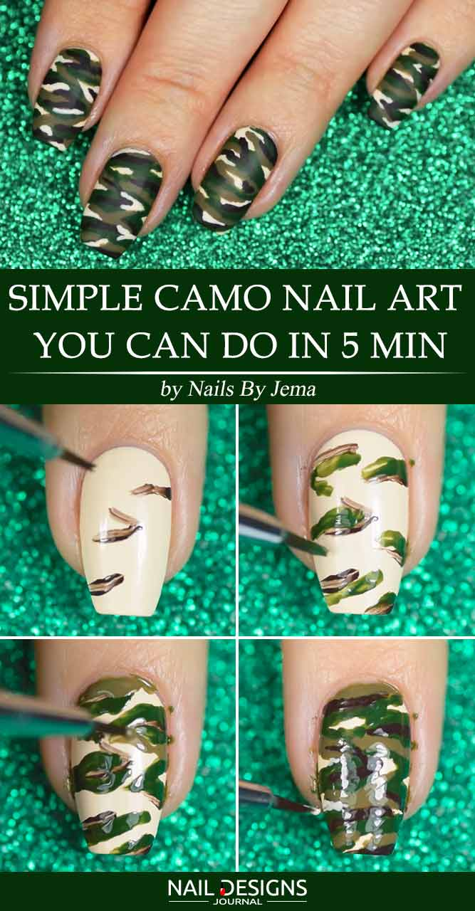 Simple Camo Nail Art You Can Do In 5 Min