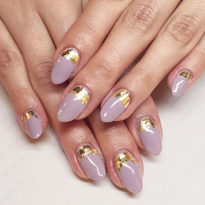 Elegant Ruffian Nails With Gold Foil picture 1