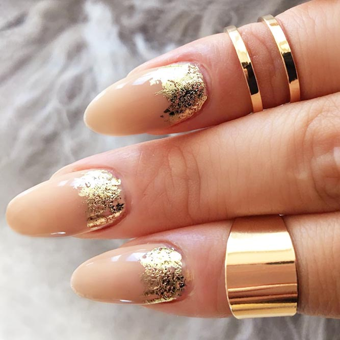 Elegant Ruffian Nails With Gold Foil picture 3