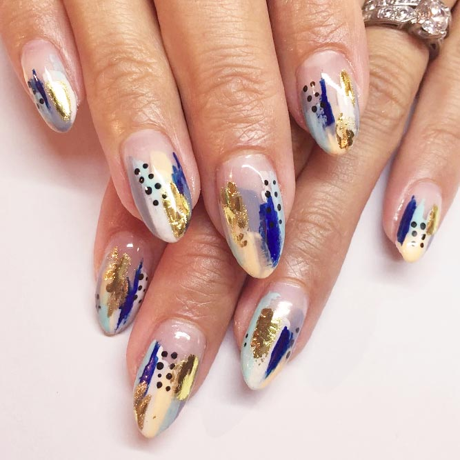 Fancy Abstract Nail Art With Gold Foil picture 2