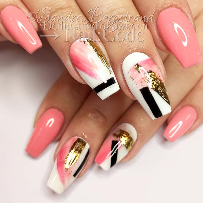 Fancy Abstract Nail Art With Gold Foil picture 3