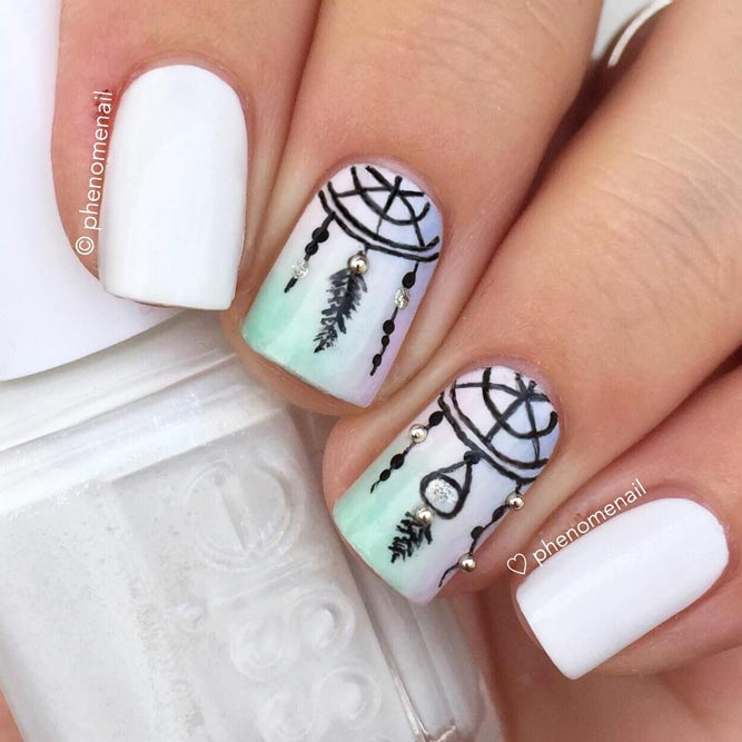 Elegant White Nails With Dreamcatcher Patterns picture 3