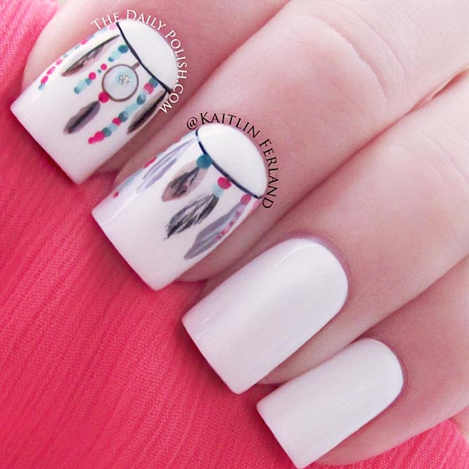 Elegant White Nails With Dreamcatcher Patterns picture 2