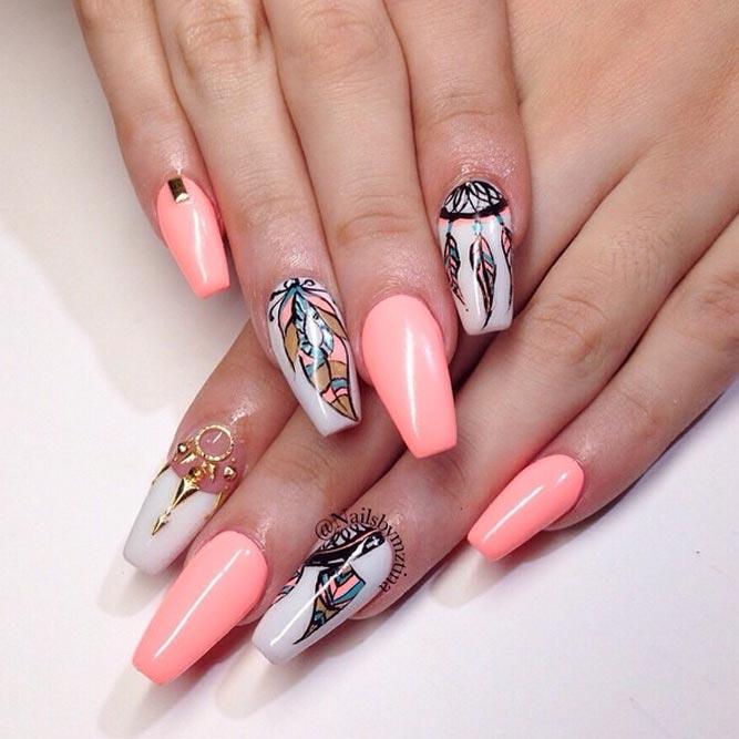 Beautiful Dream Catcher Nails In Peach Hues picture 1