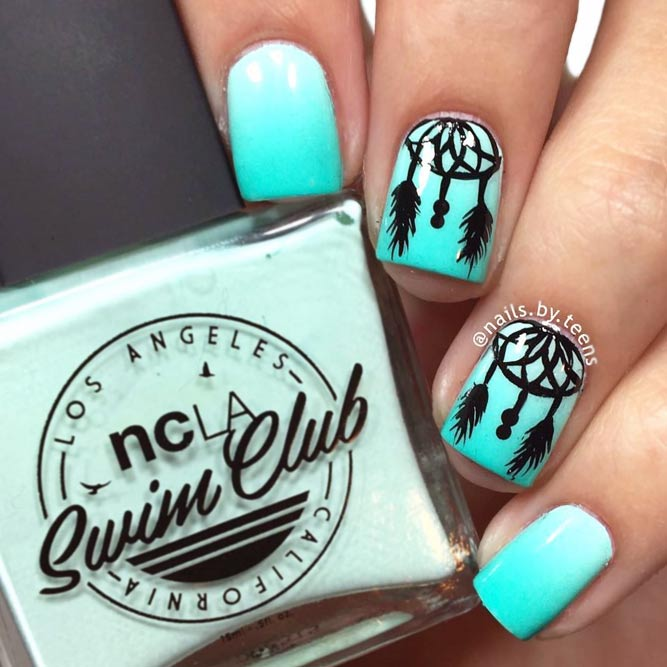 Stunning Ideas For Dreamcatchers Nails In Green picture 2