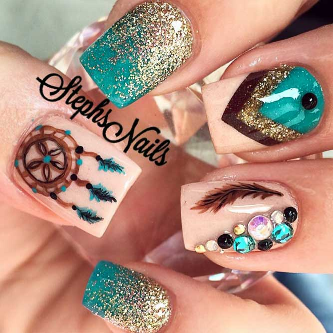 Stunning Ideas For Dreamcatchers Nails In Green picture 1