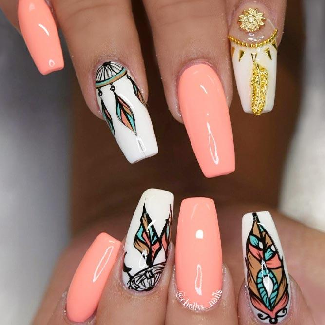 Beautiful Dream Catcher Nails In Peach Hues picture 3