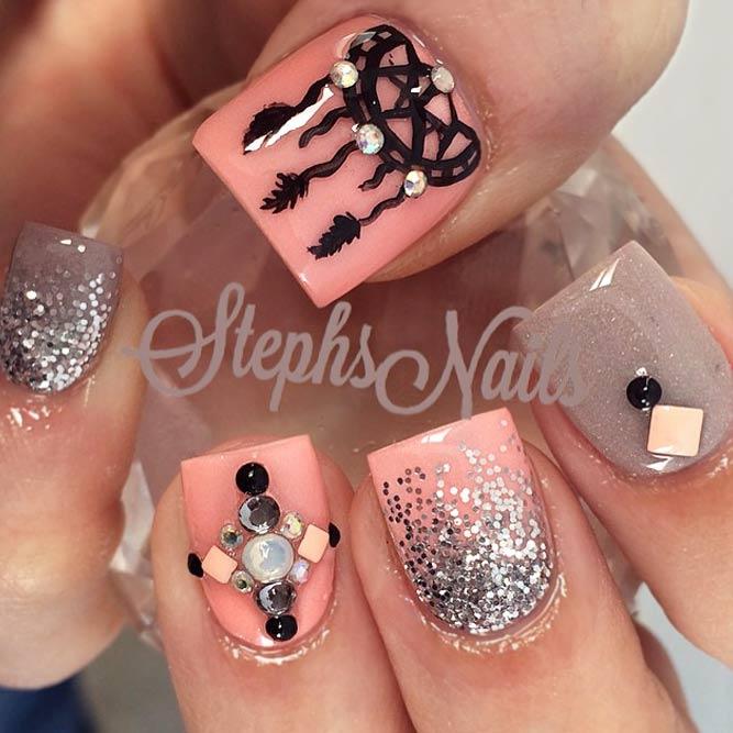 Beautiful Dream Catcher Nails In Peach Hues picture 2
