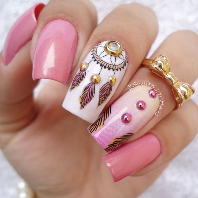 Dream Cather Nails In Sweet Pink Color picture 1