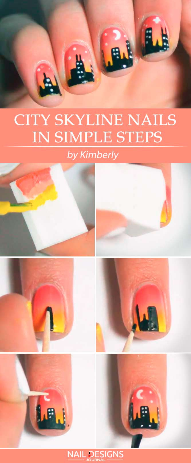 Quick Simple Ombre Skyline Nails