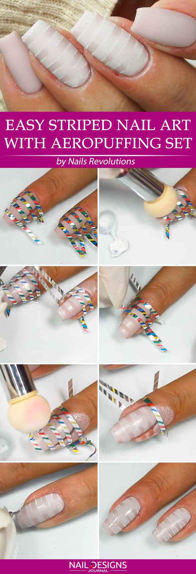 Easy Striped Nail Art With Aeropuffing Set