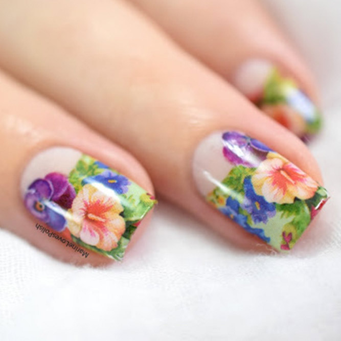 Floral Nail Designs With Water Decals and Stickers picture 3