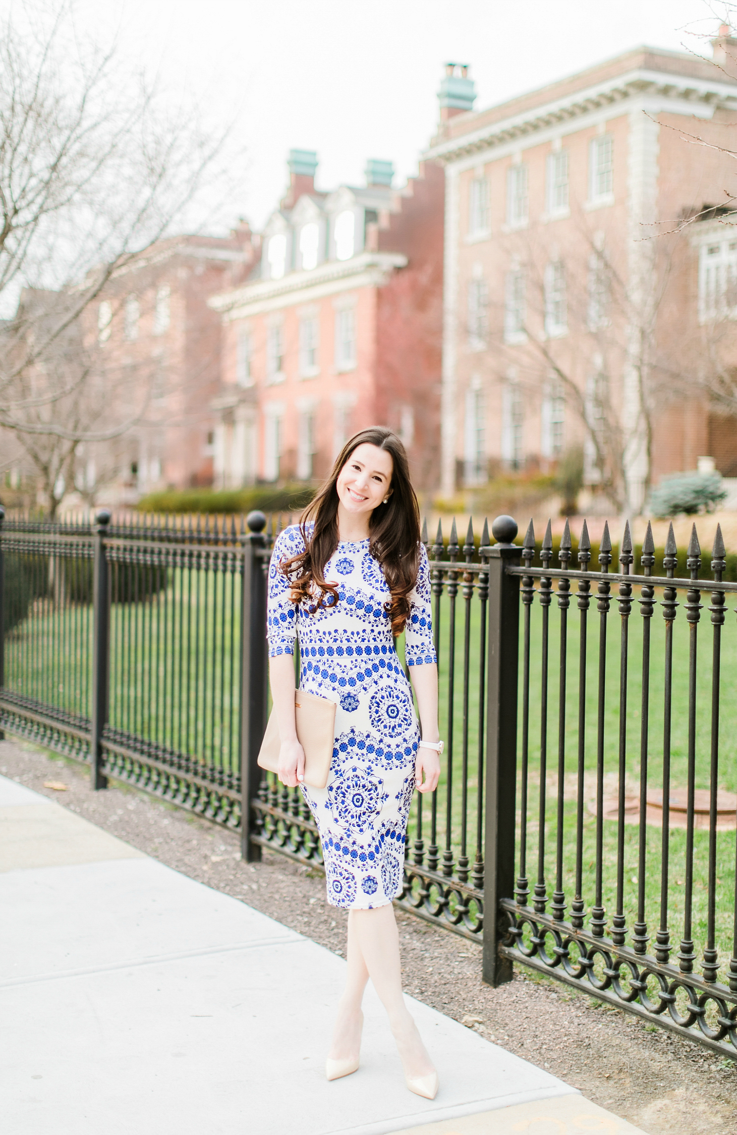 Dress Like Kate Middleton: An Affordable Taj Mahal Dress Replica for Your Spring Wardrobe by southern fashion blogger Stephanie Ziajka from Diary of a Debutante, Affordable Kate Middleton Taj Mahal Dress Replica, Naeem Khan Taj Mahal dress, Shein porcelain print pencil dress with M. Gemi The Cammeo tan patent leather pumps and a stone GiGi New York Uber clutch