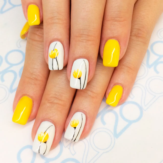 Yellow Tulips Nail Art Design