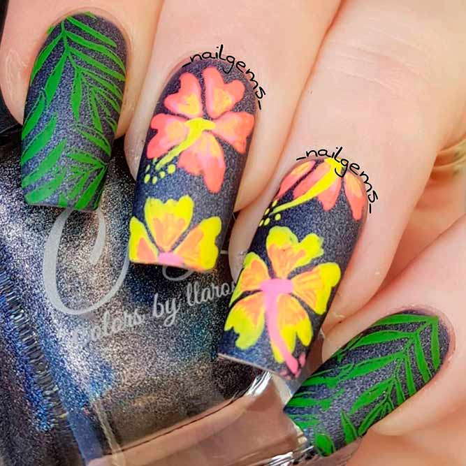 Bright Yellow Hibiscus Nail Art Design