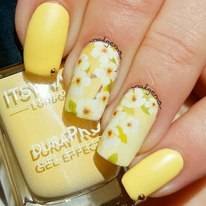 Unusual Yellow Blossom Nail Art
