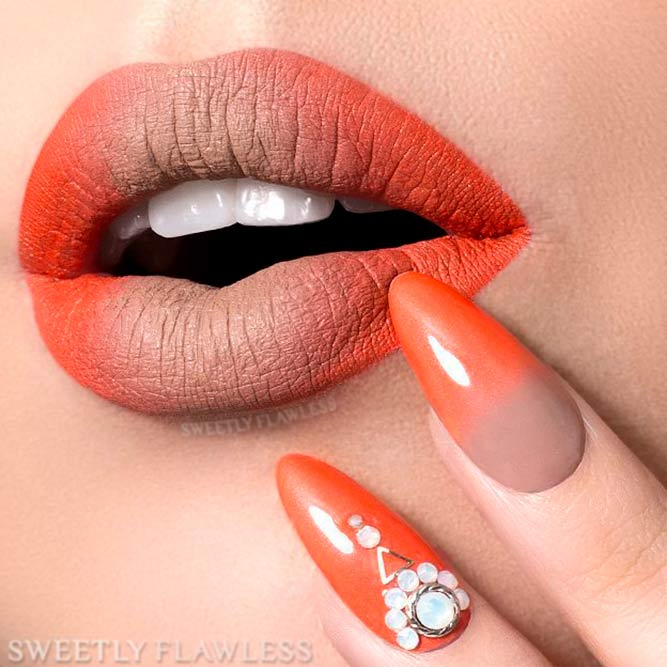 Matching Orange Ombre Lipstick With Nail Polish