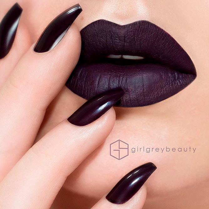 Matching Eggplant Lipstick with Nail Polish