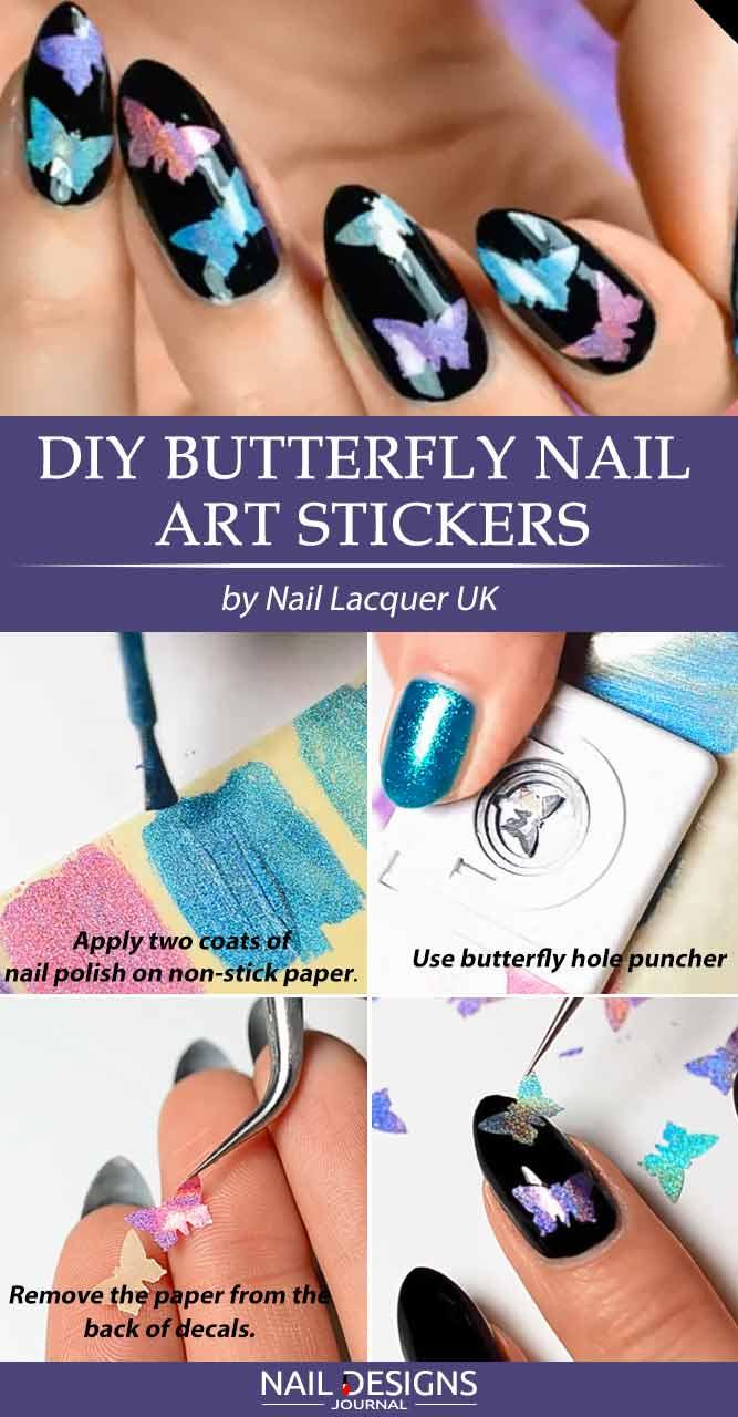 DIY Butterfly Nail Art Stickers #easynaildesign #almondnails #blacknails