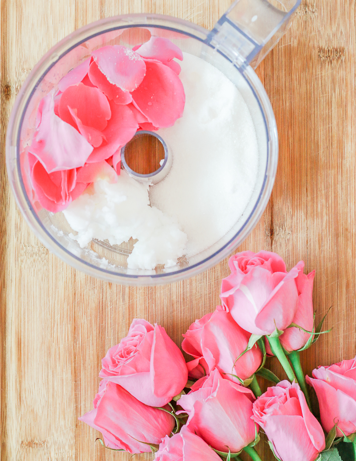DIY rose sugar scrub recipe made with white sugar, coconut oil, rose essential oil, and fresh rose petals by southern blogger Stephanie Ziajka from Diary of a Debutante, DIY sugar scrub recipe, diy sugar body scrub, diy sugar scrub gift, best diy sugar scrub