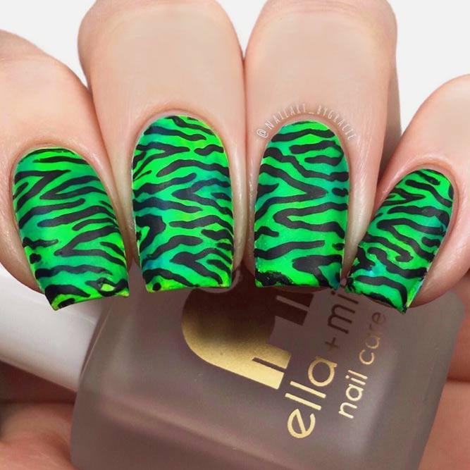 Dazzling Neon Green With Zebra Pattern #greennails #stripednails #squarenails #mattenails
