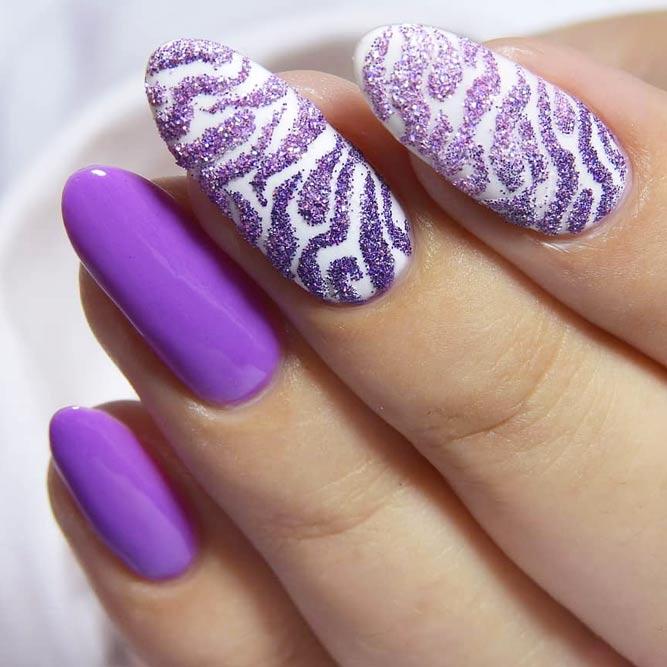 Zebra Nail Art Designs Using Glitter #purplenails #stripesnails #ovalnails #longnails #glitternails