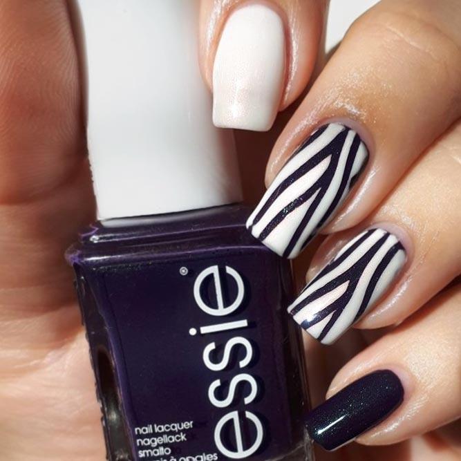 Vertical Zebra Stripes For Stunning Manicure #navybluenails #stripednails #squarenails #longnails