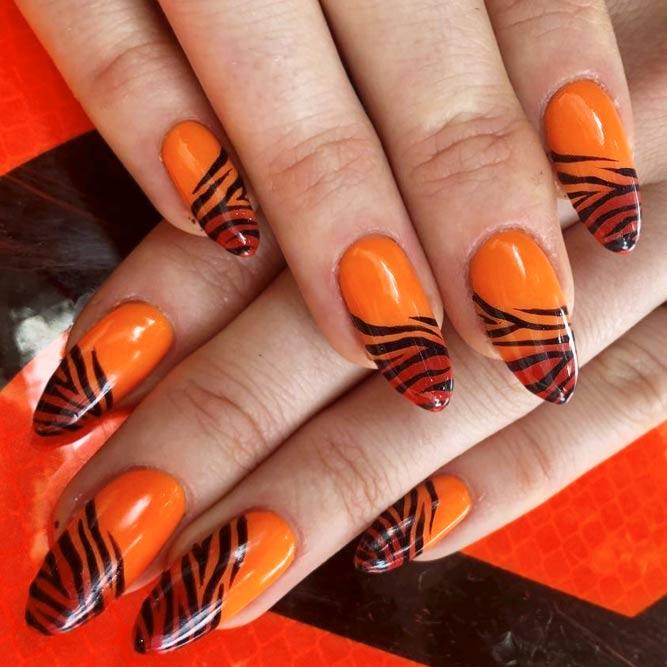 Stunning Idea Hot Orange With Black Zebra Stripes #orangenails #stripesnails #almondnails #ombrenails