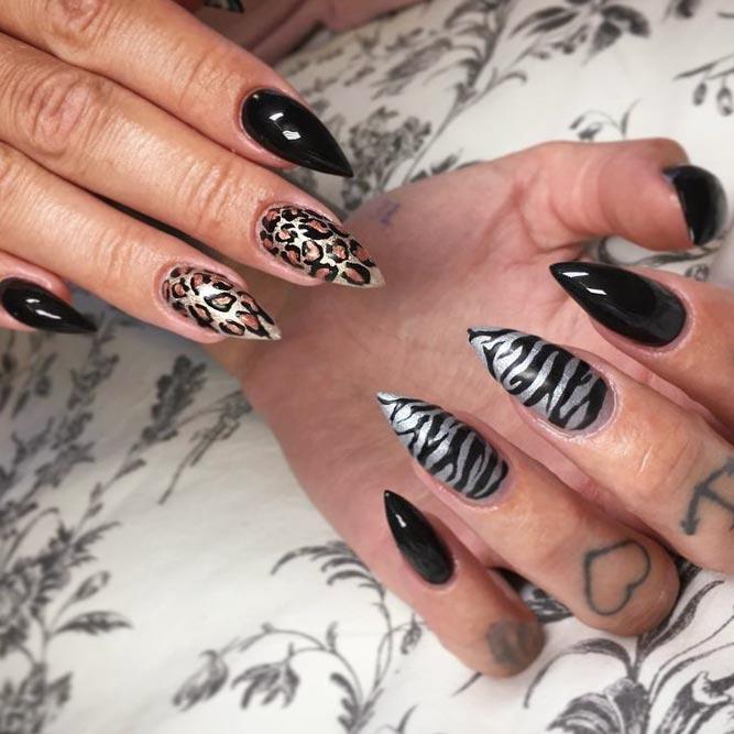 Chic Black Manicure With Animal Prints #blacknails #stripesnails #stilettonails #cheetahnails