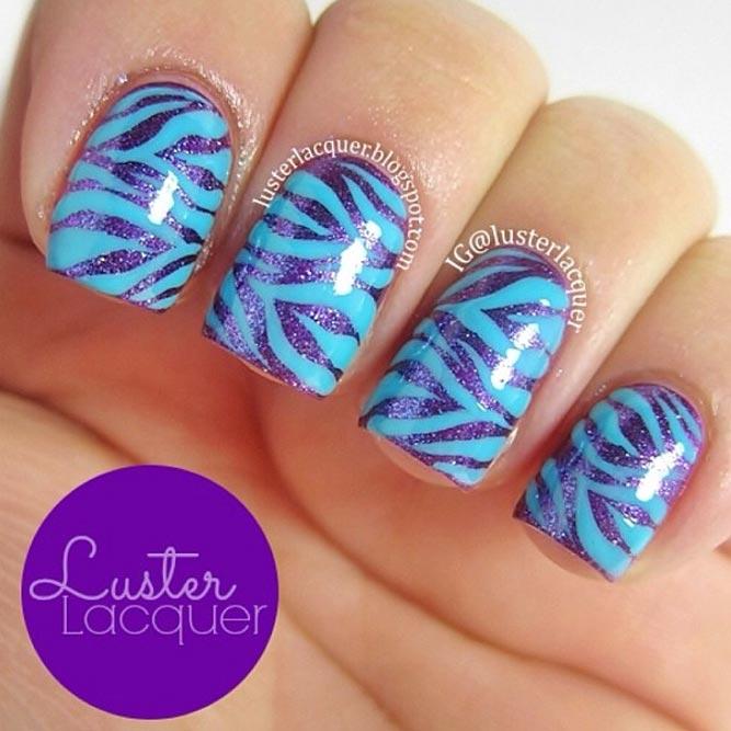 Amazing Blue Stripes On Purple Nails #purplenails #stripednails #squarenails #shortnails