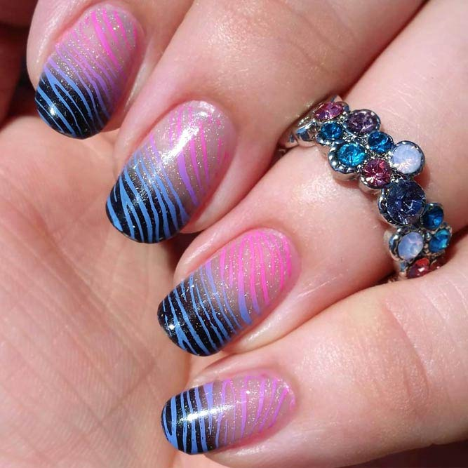 Cute And Easy Zebra Print With Stamping #ombrenails #stripesnails #roundednails