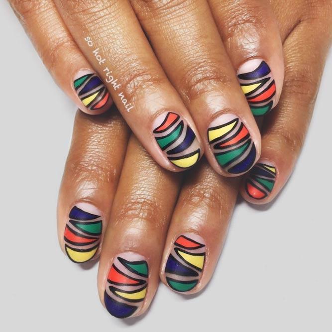 Colorful Idea For Zebra Print Nail Art #colorfulnails #stripednails #roundednails #shortnails #mattenails