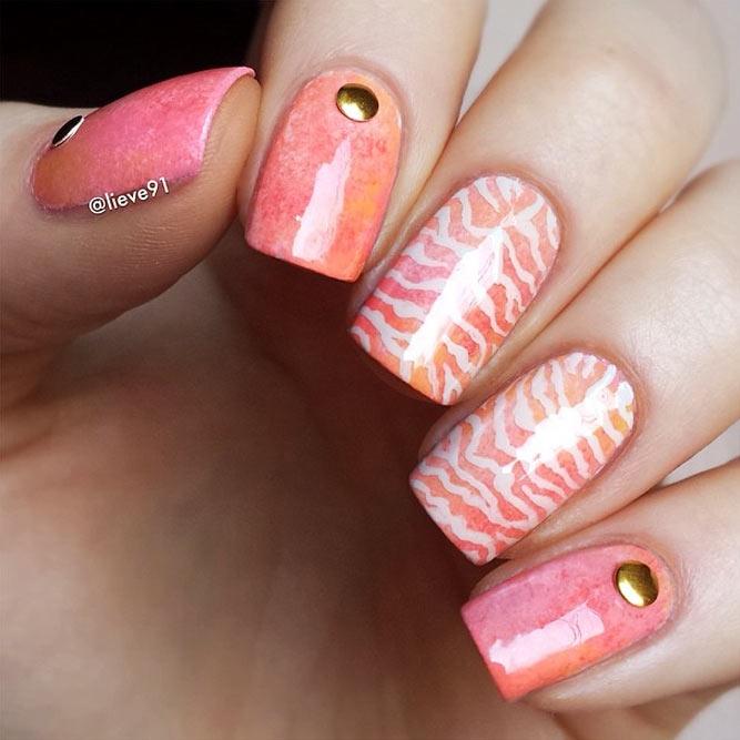 Sweet Peach Zebra Print Nail Art #peachnails #stripesnails #squarenails #nailstuds