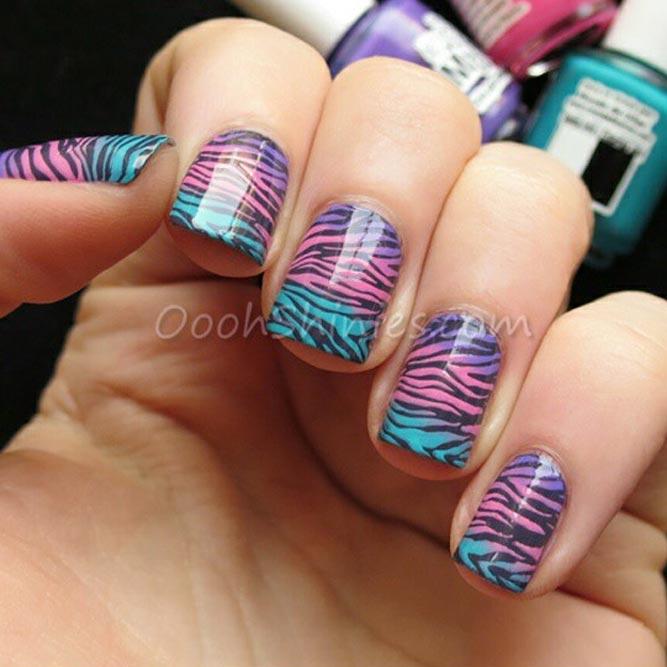 Mesmerizing Combination Of Pastel Ombre And Animal Print #pastelnails #stripednails #squarenails #shortnails #ombrenails