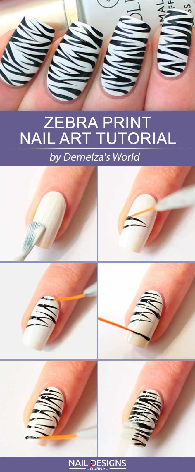 Step By Step Tutorial How To Paint Zebra Print On Your Nails #blackandwhitenails #stripesnails #squarenails #nailtutorial #diynails