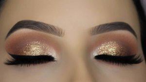Classic Brown Glitter Eye Makeup