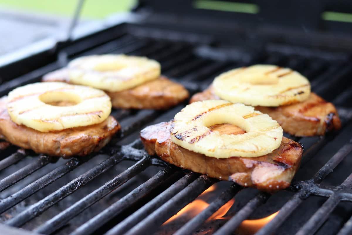 Teriyaki Pork Chops with Grilled Pineapple